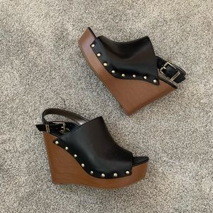 Shoes - Black and brown wedges size 7.5